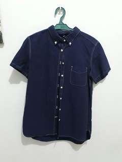 Blue Buttondown Denim Polo