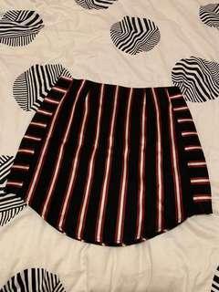 Black Red White striped mini skirt