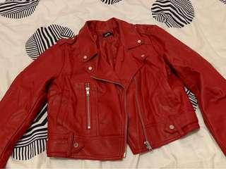 Dotti red PU leather jacket