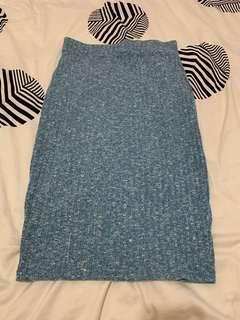 Cotton on blue midi stretchy skirt