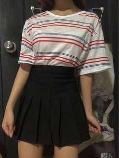 ulzzang white V neck top with blue & red stripes