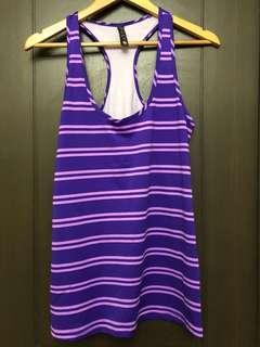 Cotton on sleeveless racer back violet stripes yoga running top