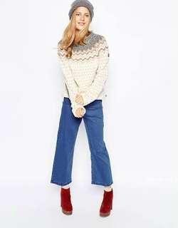 Fjallraven Fair Isle cream brown grey Sweater