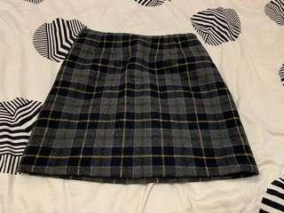 New look grey yellow plaid skirt