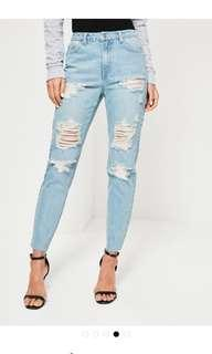 MISSGUIDED Blue Riot High Waisted Mom Jeans
