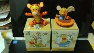 7-11 Disney Winnie the Pooh 木掣 維尼系列 跳跳虎 4件全要45 全新有盒