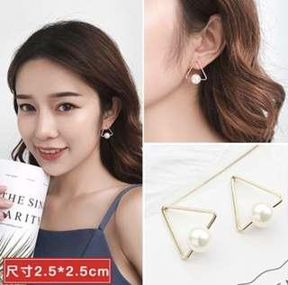 🚚 INSTOCK Triangle Pearl White Earring