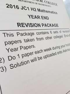 H2 Mathematics JC1 End-Of-Year Exam Revision Package