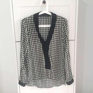 Zara houndstooth top