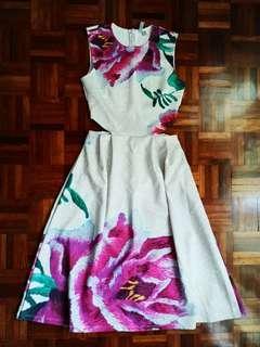 Asos Oriental Flower Cut Out Dress