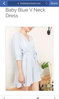 V neck baby blue dress