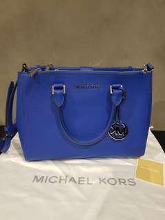 Michael Kors Electric Blue Satchel Saffiano Leather