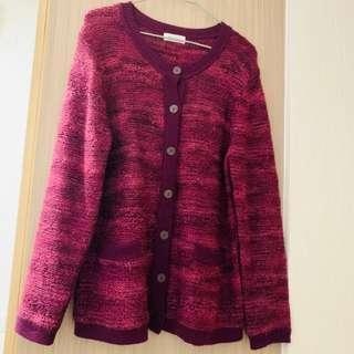 (購自日本) 紅色 復古 冷外套 Vintage Outwears Wool Cardigan