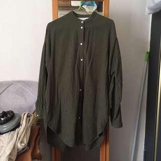 Muji 橄綠立領長版襯衫