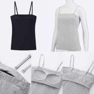 Uniqlo Women Supima Cotton Bra Tube Top (Black & Gray)