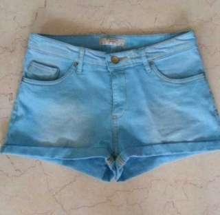 Springfield Aquamarine Blue Denim Shorts