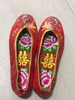 中式結婚金魚38號褂鞋,送拖鞋