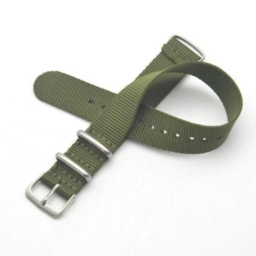 22MM nylon strap men's watch strap stainless steel buckle army green