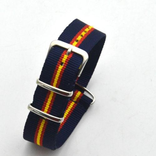22MM Nylon Watch band Men watch strap Silver stainless steel buckle Color stripe
