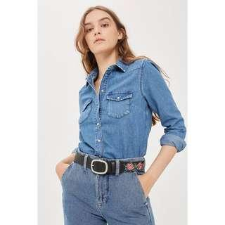 Fitted Western Denim Shirt