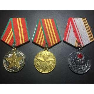 🚚 Set of Soviet Medals for Impeccable Service (II & III Classe) and Veteran of the Armed Forces Medal - #20009
