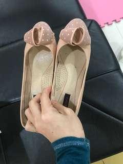 🚚 二手23.5號Beso粉色蝴蝶結中跟鞋 含運