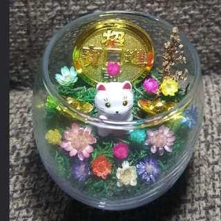 A CNY frozen flowers fortune cat gift