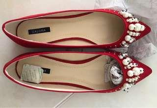 Pearl Ballerina Flats in Red