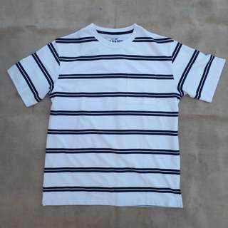 SPAO PINSTRIPE WHITE POCKET TEE