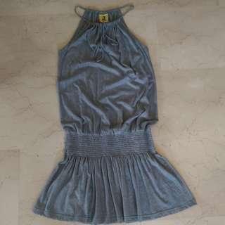 Grey Halter Neck Bandeau Skater Dress
