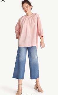 oversized pleated neck blouse