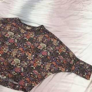 Batwing Crop Floral Sweater