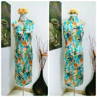 Mandarin Collar Satin Midi Dress
