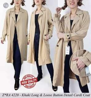Zara Khaki Long N Loose button detail cardi coat / Trench Coat Khakis Caramel
