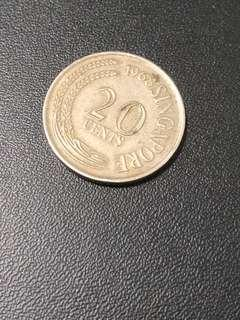 1968 Old Singapore Coin 20 cents