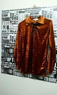 🚚 韓國製 時尚綁帶絨面上衣