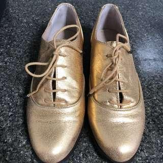 Mimco gold lace up shoes