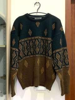 🚚 寬版咖啡色圖騰針織毛衣
