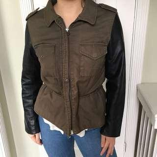 Army jacket with faux leather sleeves