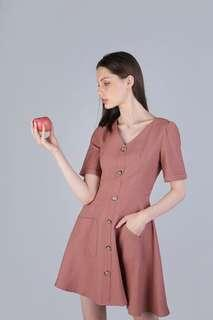 The tinsel rack TTR Leyton Button Sleeved Dress in Rose Taupe Size XS