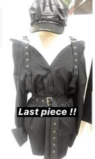 Givenchy Nightingale Inspired Harness Garter Harajuku Gothic Cold Off Shoulder Top/ Dress In Black