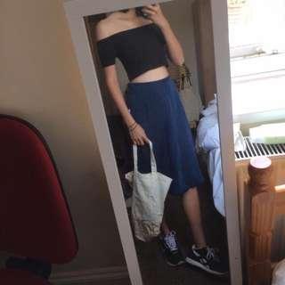 Vintage Navy Soft Midi Denim Skirt Size S