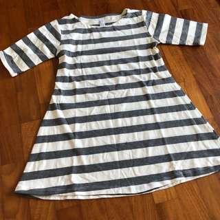 4T NEW Grey Striped Babydoll Dress
