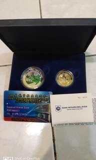 2 in 1 Felcra commerative coin BNM low number
