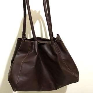 Dark Brown Leather Totebag
