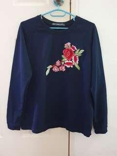 Brand New Navy Floral Top in Small