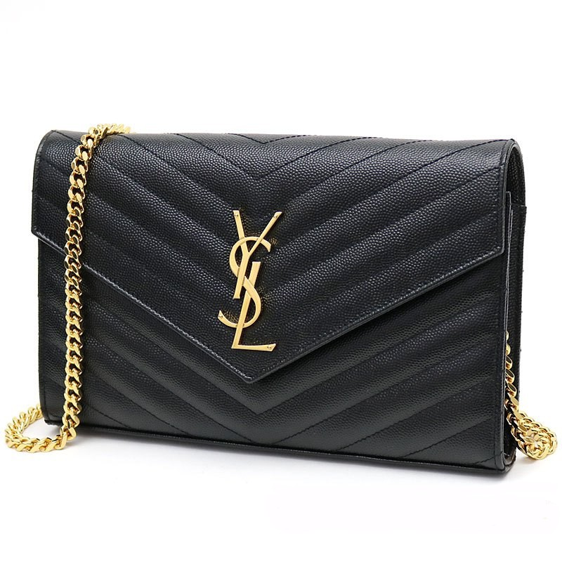 ba18853c8e13 Auth YSL Large Chain Wallet WOC Black + Gold Hardware Caviar Leather Sling  Bag