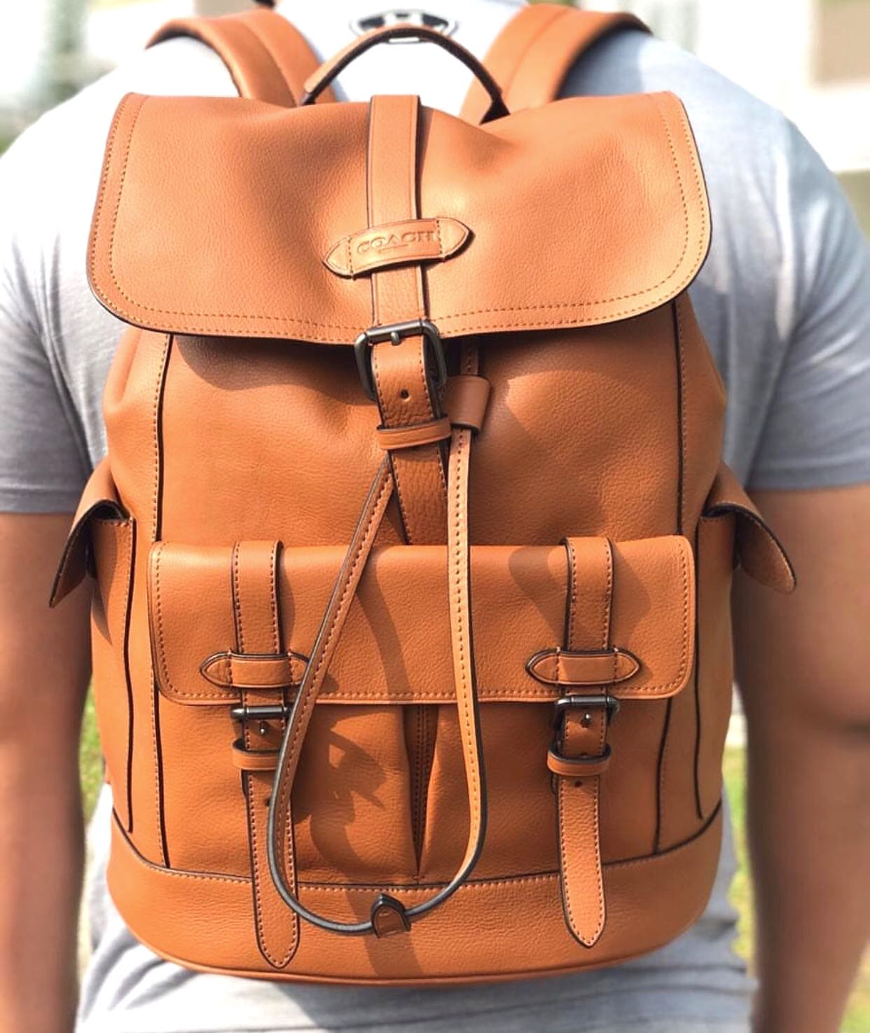 Authentic COACH men s Hudson backpack in genuine brown leather ... 314d5bba92746