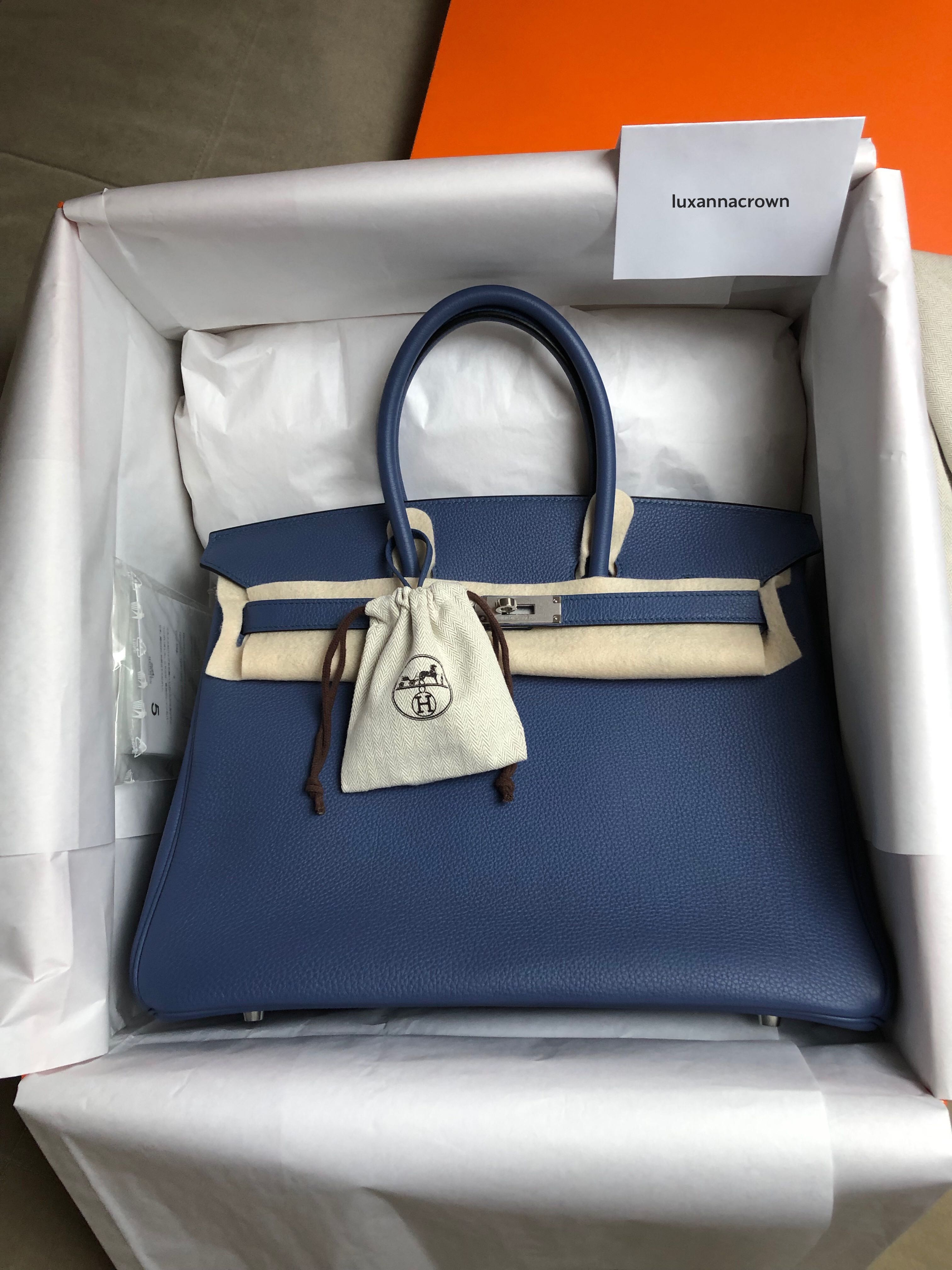 0e5a3b80e437 Authentic Hermes Birkin 35 Bleu Agate Togo PHW