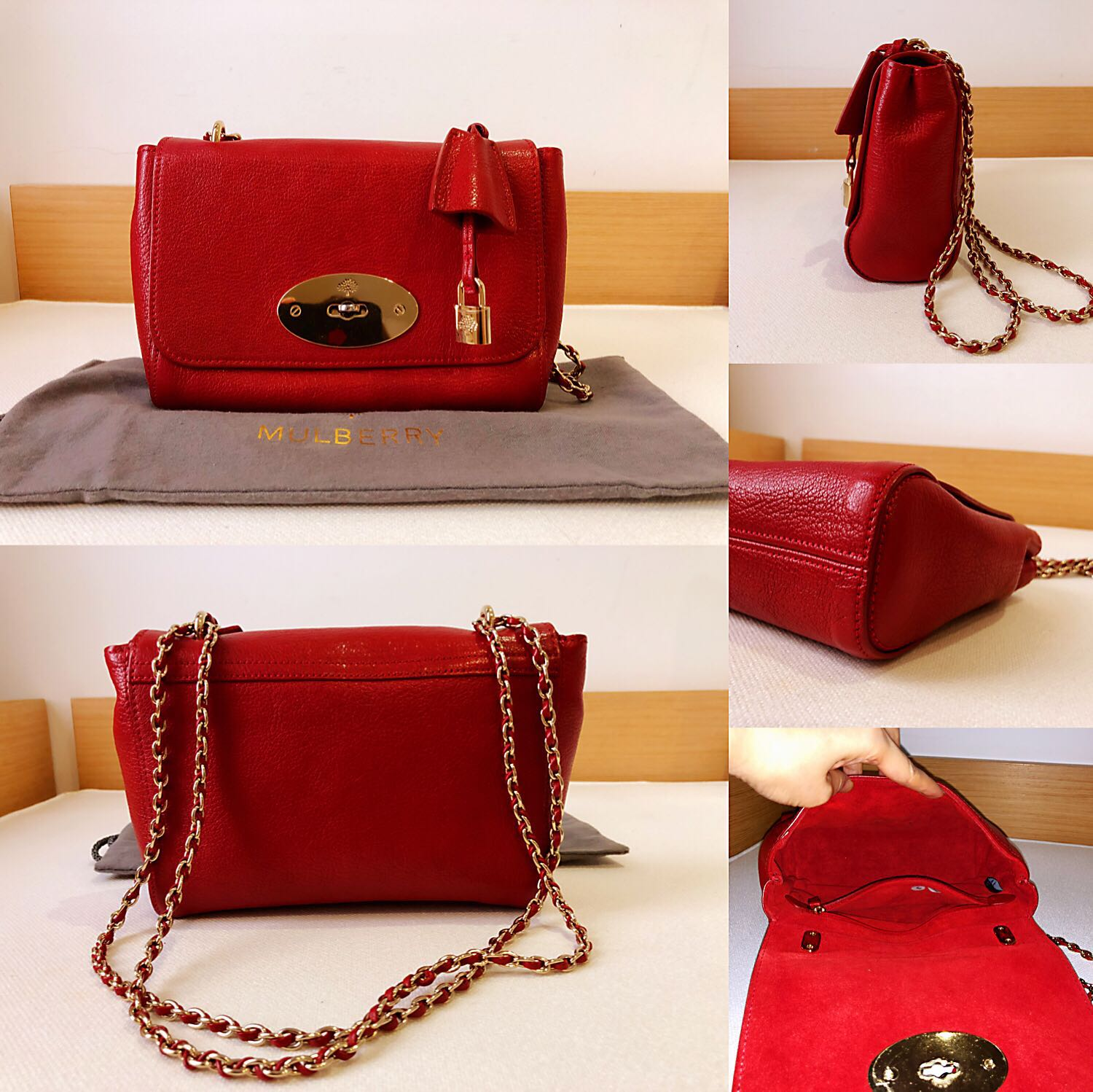 779bb3abfc11 AUTHENTIC MULBERRY LILY SHOULDER BAG HH1567 Poppy Red